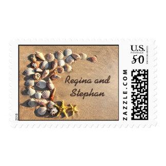beach destination wedding seashells postage
