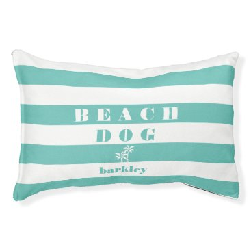 Beach Themed Beach Dog | Aqua & White Cabana Stripe Palm Tree Pet Bed