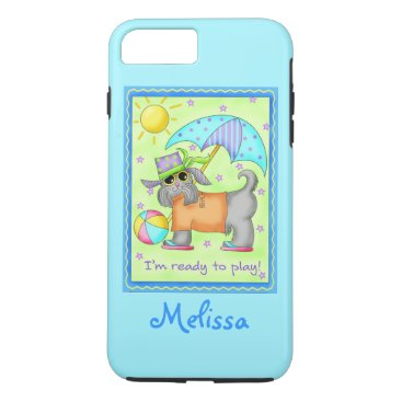 Beach Themed Beach Dog Ready to Play Turquoise Name Personalize iPhone 7 Plus Case