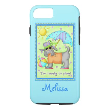 Beach Themed Beach Dog Ready to Play Turquoise Name Personalize iPhone 8/7 Case