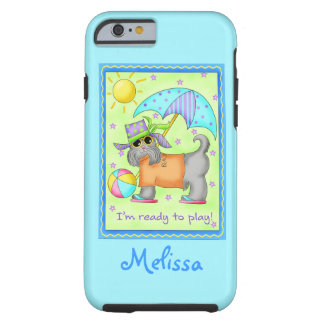 Beach Dog Ready to Play Turquoise Name Personalize Tough iPhone 6 Case