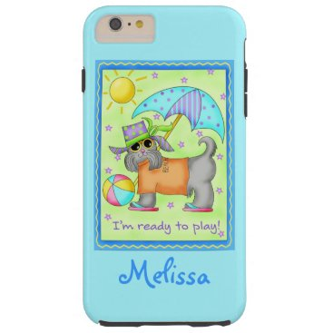Beach Themed Beach Dog Ready to Play Turquoise Name Personalize Tough iPhone 6 Plus Case