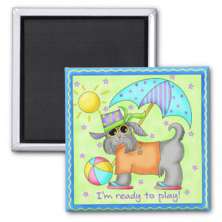 Beach Dog Whimsy Art Green Blue 2 Inch Square Magnet