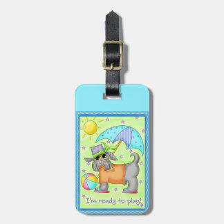 Beach Dog Whimsy Art Green Blue Bag Tag