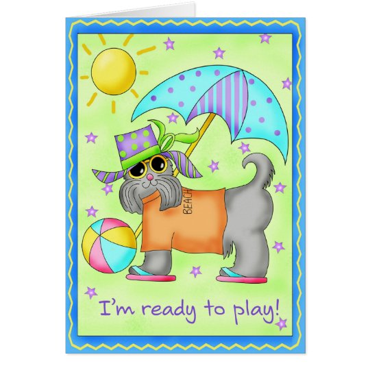 Beach Dog Whimsy Art Green Blue Card