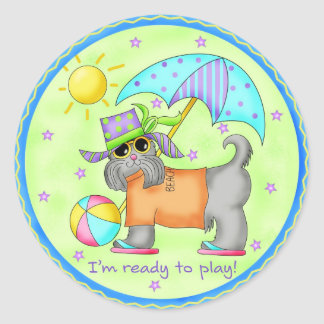 Beach Dog Whimsy Art Green Blue Classic Round Sticker