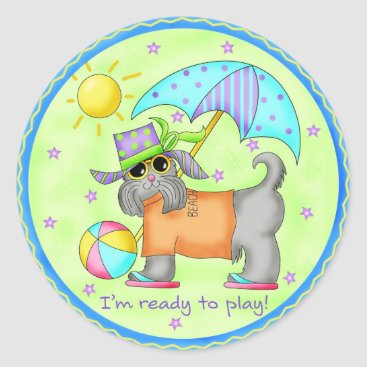 Beach Themed Beach Dog Whimsy Art Green Blue Classic Round Sticker