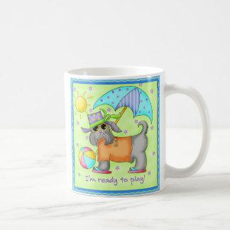 Beach Dog Whimsy Art Green Blue Coffee Mug