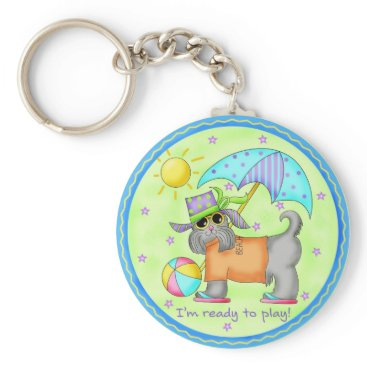 Beach Themed Beach Dog Whimsy Art Green Blue Keychain