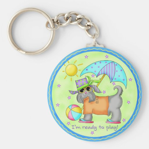Beach Dog Whimsy Art Green Blue Basic Round Button Keychain