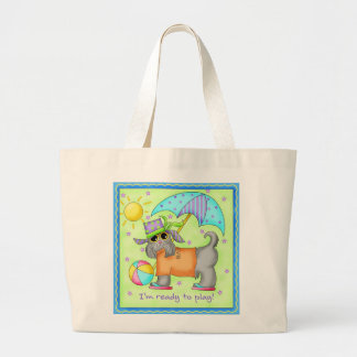 Beach Dog Whimsy Art Green Blue Large Tote Bag