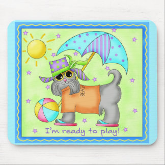 Beach Dog Whimsy Art Green Blue Mouse Pad