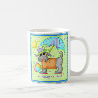 Beach Dog Whimsy Art Green Blue Mugs