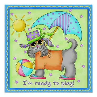 Beach Themed Beach Dog Whimsy Art Green Blue Poster