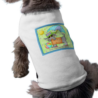 Beach Dog Whimsy Art Green Blue Shirt
