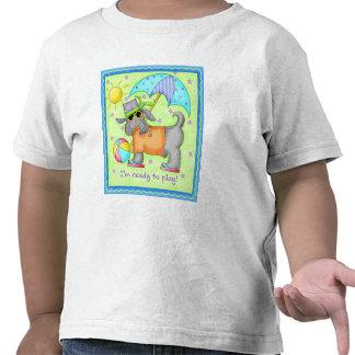 Beach Dog Whimsy Art Green Blue T Shirt