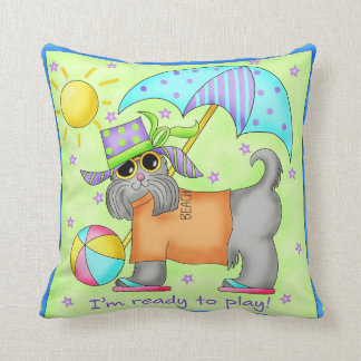 Beach Dog Whimsy Art Green Blue Throw Pillow