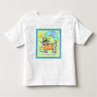 Beach Dog Whimsy Art Green Blue T-shirt