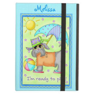 Beach Dog Whimsy Art Turquoise Green iPad Air Case