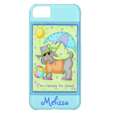 Beach Themed Beach Dog Whimsy Turquoise Name Personalize Cover For iPhone 5C