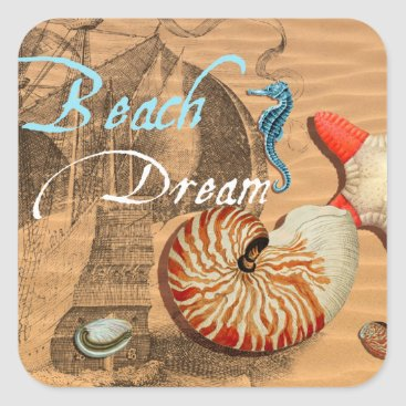 Beach Themed Beach Dream Square Sticker