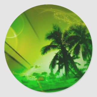 beach dreams green classic round sticker