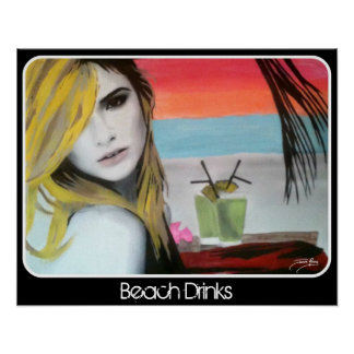 """Beach Drinks' print on a Poster"