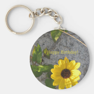 Beach Dune Daisy Happy Birthday Keychain