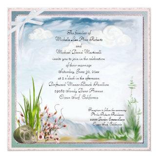 """Beach Dune Romance Square Wedding Invitation 5.25"""" Square Invitation Card"""