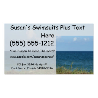 Beach dune, water, clouds, and sky background business card template