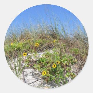 Beach Dune with Yellow Flowers Classic Round Sticker