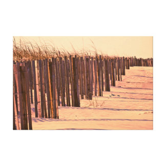 Beach Dunes Fence at Sunset Artwork Canvas