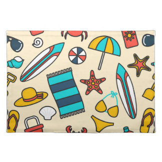 Beach Elements Pattern Cloth Placemat