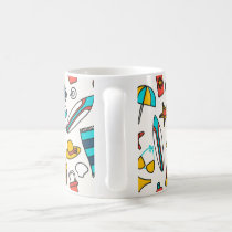 Beach Elements Pattern Coffee Mug