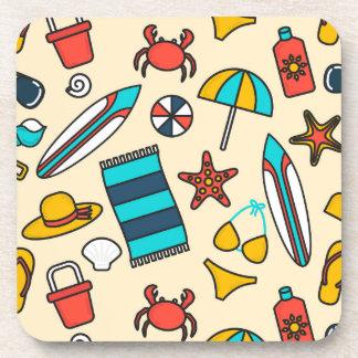Beach Elements Pattern Drink Coaster