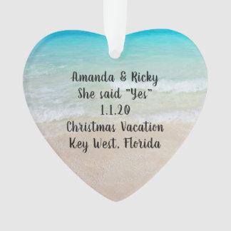 Beach Engagement Heart Shaped Photo Ornament