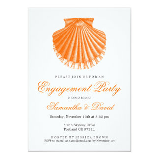 Beach Engagement Party Scallop Shell Orange Card