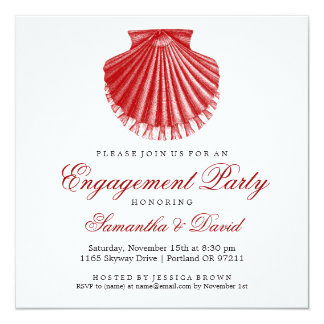 Beach Engagement Party Scallop Shell Red Card