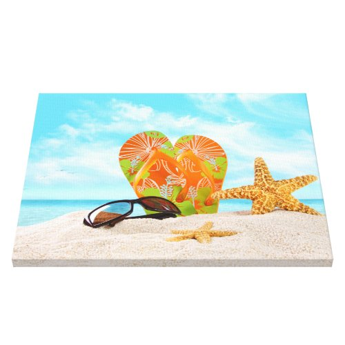 Beach Essentials in the sand Canvas Print
