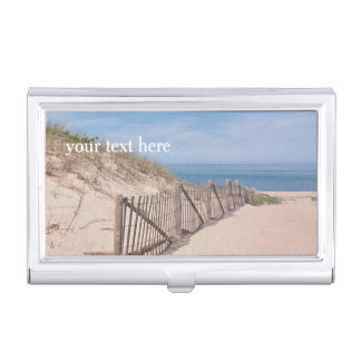 Beach fence along the path in sand dunes business card holder