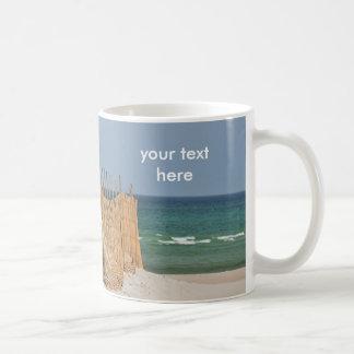 Beach fence and sand dune coffee mug