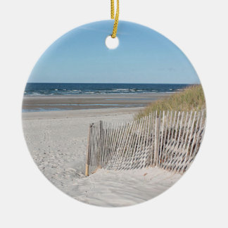 Beach fence ceramic ornament