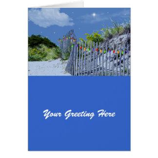 Beach Fence & Dunes Christmas Greetings Card