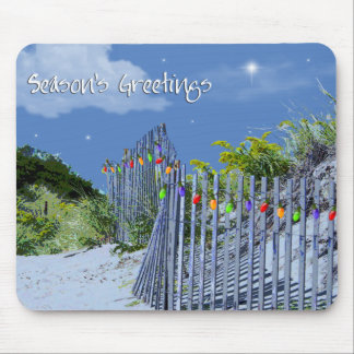 Beach Fence & Dunes Christmas Greetings Mouse Pad