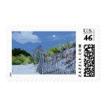 Beach Fence & Dunes Christmas Greetings Stamp