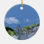 Beach Fence & Dunes Christmas Tree Ornaments
