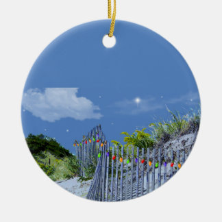 Beach Fence & Dunes Double-Sided Ceramic Round Christmas Ornament