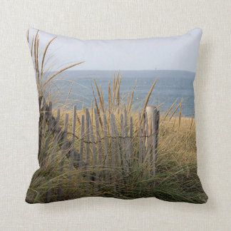 Beach fence in the sand dune throw pillow
