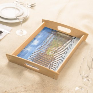 Beach Fencing and Clouds Serving Tray