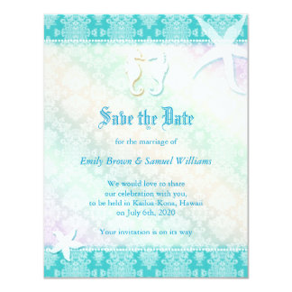 Beach Festival Sea Horse Couple Save the Date Card